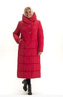 Женский пуховик зимний теплый удлиненный  большого размера 46-58 р цвет красный