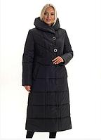 Женский пуховик зимний теплый удлиненный  большого размера 46-58 р цвет черный