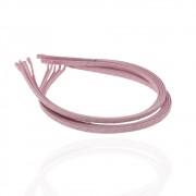 Обруч для волос металлический 5 мм, обмотан нежно-розовой лентой, упаковка 12 шт.