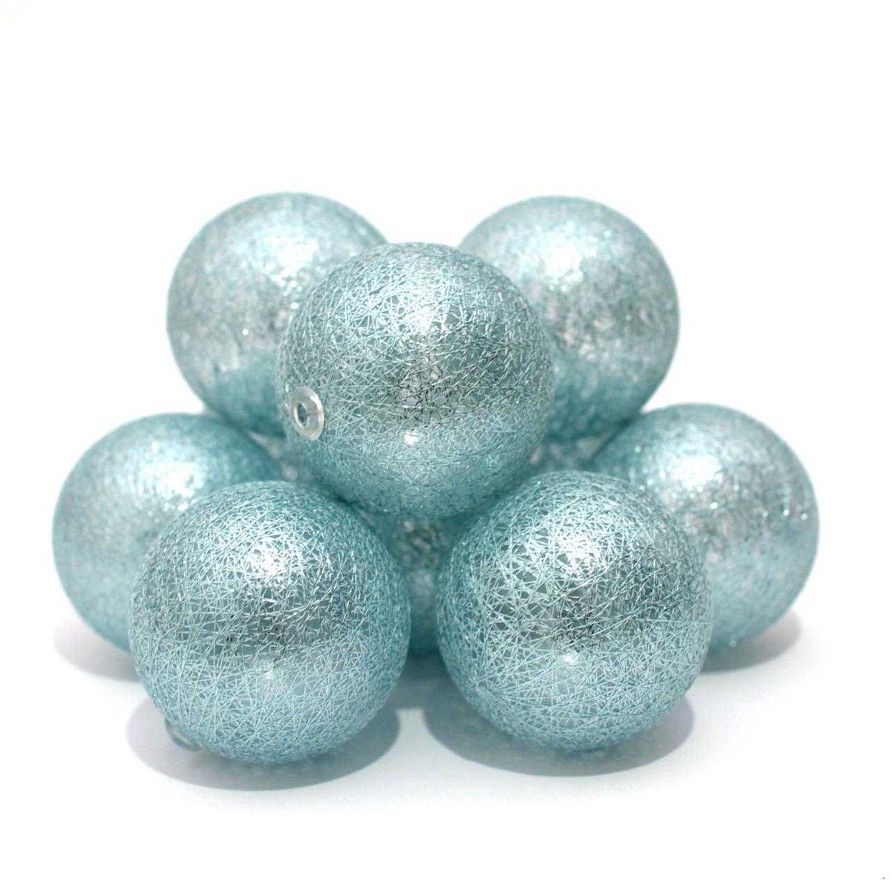 Декоративная Светодиодная LED Гирлянда Cotton Balls Хлопковые Тайские Шарики 10 шт На Батарейках ЛЕД Декор