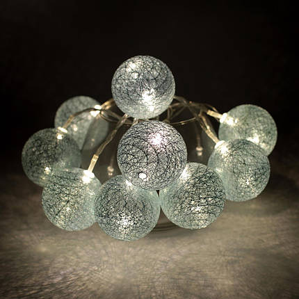 Декоративная Светодиодная LED Гирлянда Cotton Balls Хлопковые Тайские Шарики 10 шт На Батарейках ЛЕД Декор, фото 2