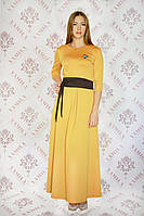 Шикарное длинное трикотажное платье с поясом Шарлотта-2