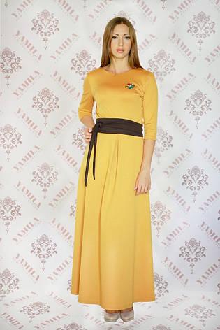 Шикарное длинное трикотажное платье с поясом Шарлотта-2, фото 2