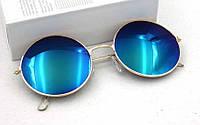 Солнцезащитные круглые очки металлическая оправа золотистого цвета, темно-синие линзы, фото 1