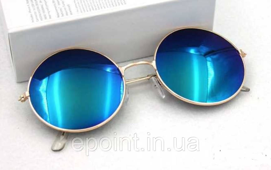 f492425aaaa5 Солнцезащитные круглые очки металлическая оправа золотистого цвета,  темно-синие линзы - Интернет-магазин