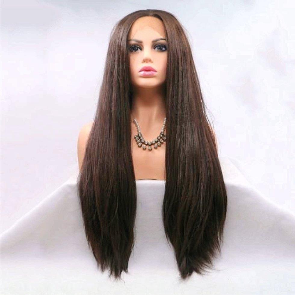 Длинный парик из темно коричневых волос на сеточке