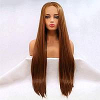 Длинный парик на сеточке коричнево-карамельного цвета