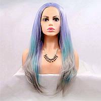 Длинный трехцветный парик на сетке