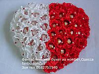 """Большое конфетное сердце из 45 роз""""Белая и красная половинки"""", фото 1"""