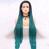 Реалистичный парик омбре на сетке зеленые длинные афро косы