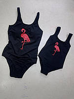 """Слитный детский  купальник с печатью """"Фламинго"""" Черный"""
