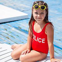 """Слитный детский  купальник с печатью """"Police"""" Красный"""