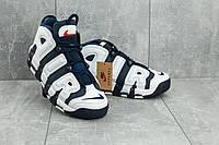 Кроссовки Nike Air More Uptempo мужские, темно-синие, в стиле Найк Аптемпо, материал-кожа, код OO-A 8587-9