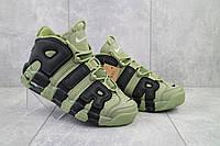 Кроссовки Nike Air More Uptempo мужские, цвет - хаки, в стиле Найк Аптемпо, материал-кожа, код OO-A 8587 -4