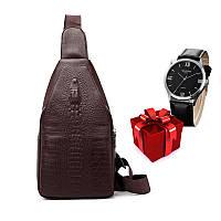 Новый стиль! Мужская сумка слинг Alligator Brown  + В ПОДАРОК Мужские наручные часы WLISTH!!!
