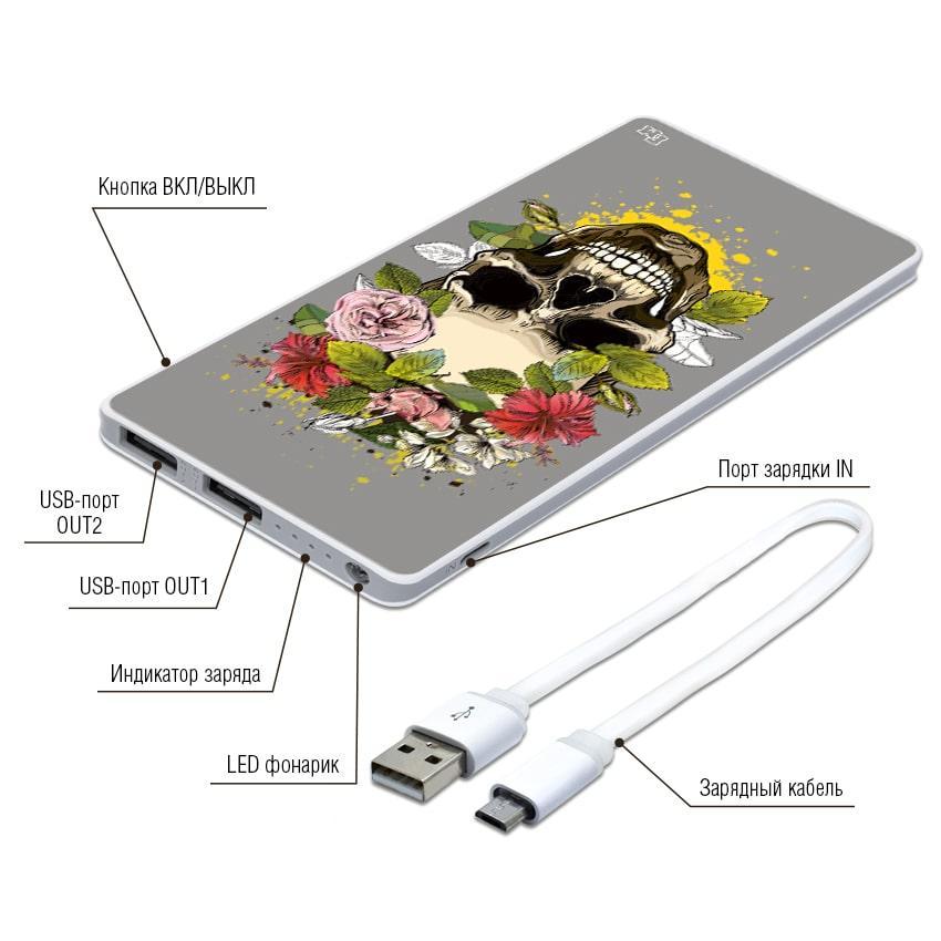 Дополнительная мобильная батарея Череп, 7500 мАч (E189-31)