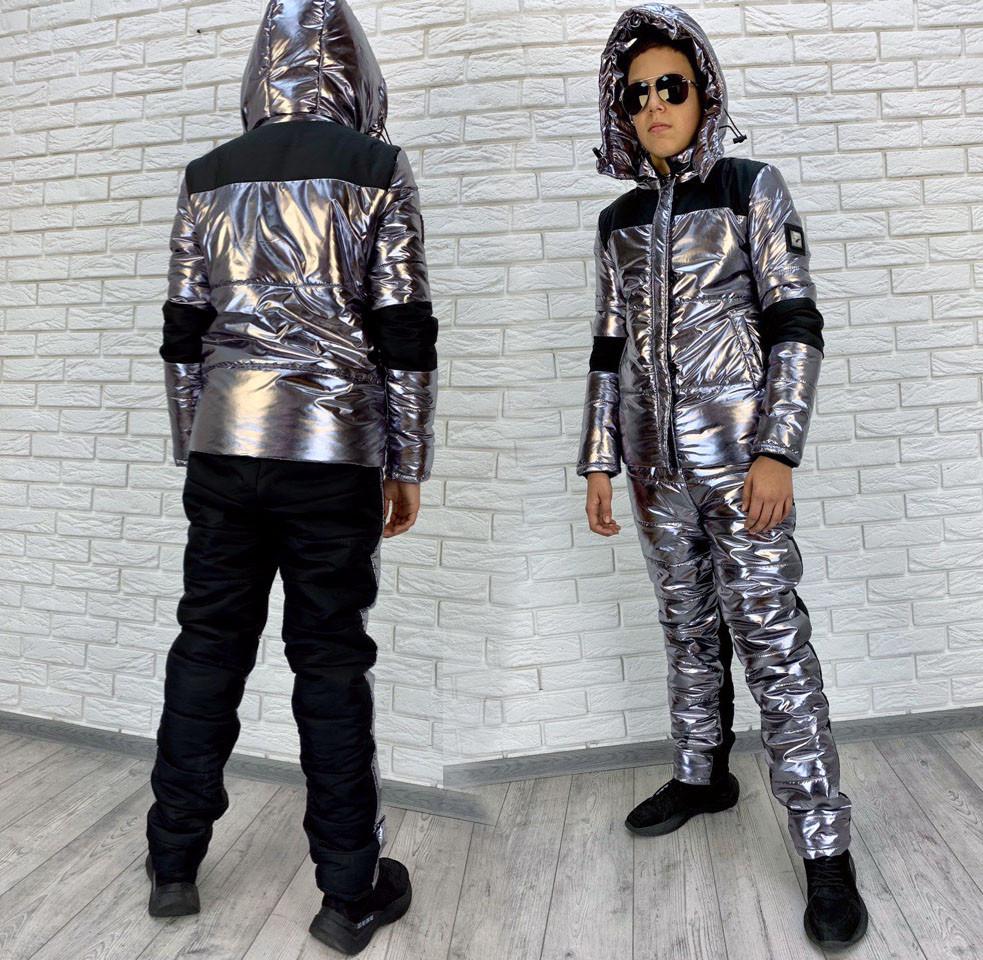 """Детский подростковый лыжный костюм холлофайбер 7269 """"Металлик Комби Нашивка junior"""""""