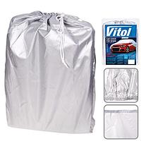 Тент автомобильный Vitol CC11106 S с ушками под зеркала и молнией (406х165х120)
