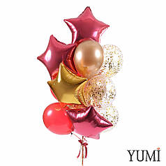 Связка: 3 звезды бургундия, 1 звезда золото, 3 шара бургундия кристалл, 3 шара золото хром, 3 шара с конфетти