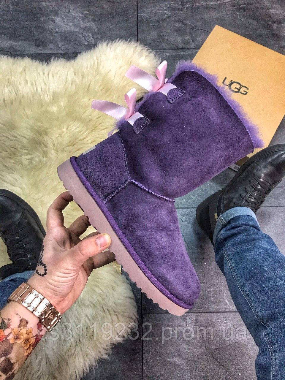 Женские сапоги зимние UGG Bailey Bow Leather (фиолетовые)