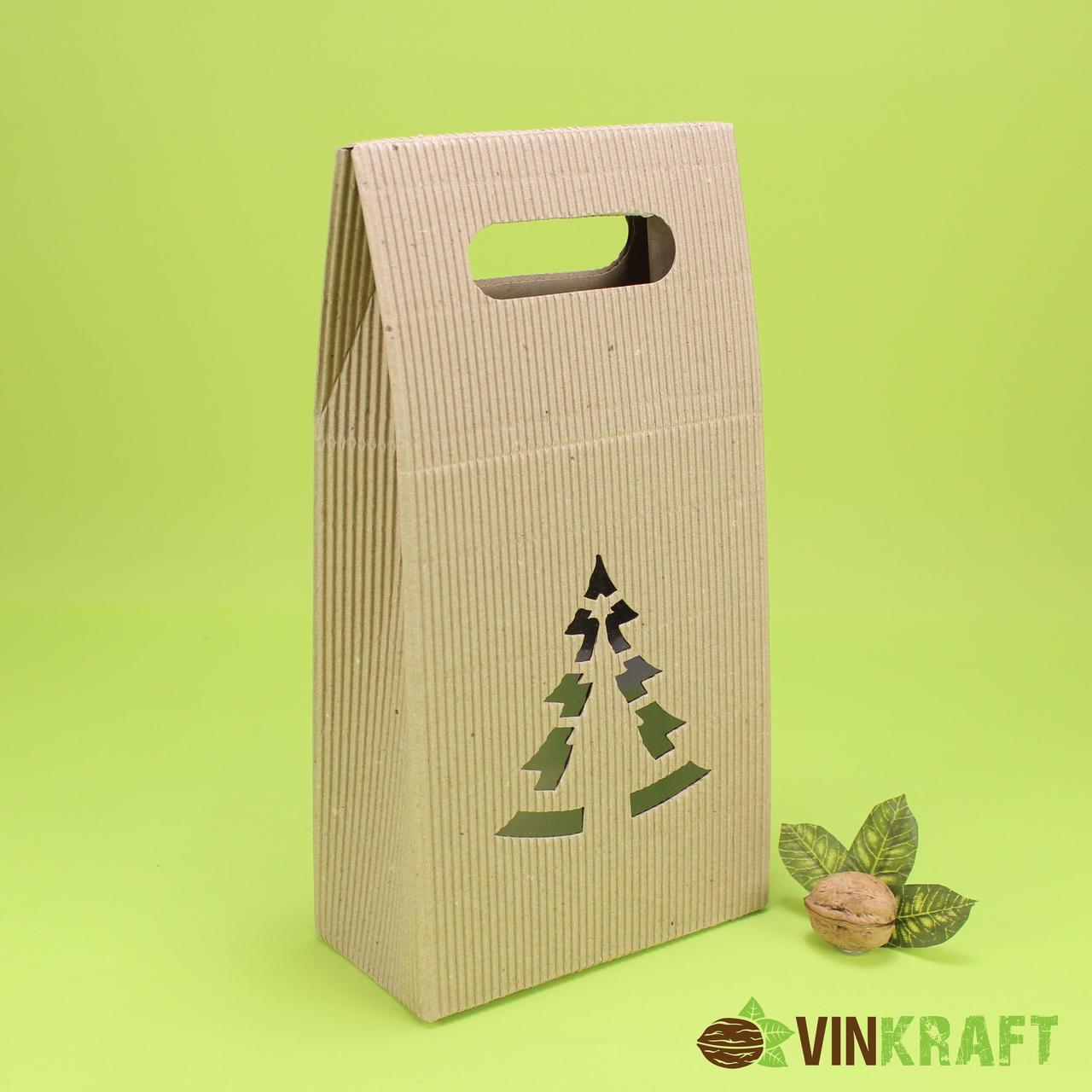 """Коробка 160*80*200 для подарунка """"Ялинка"""" гофракартон"""