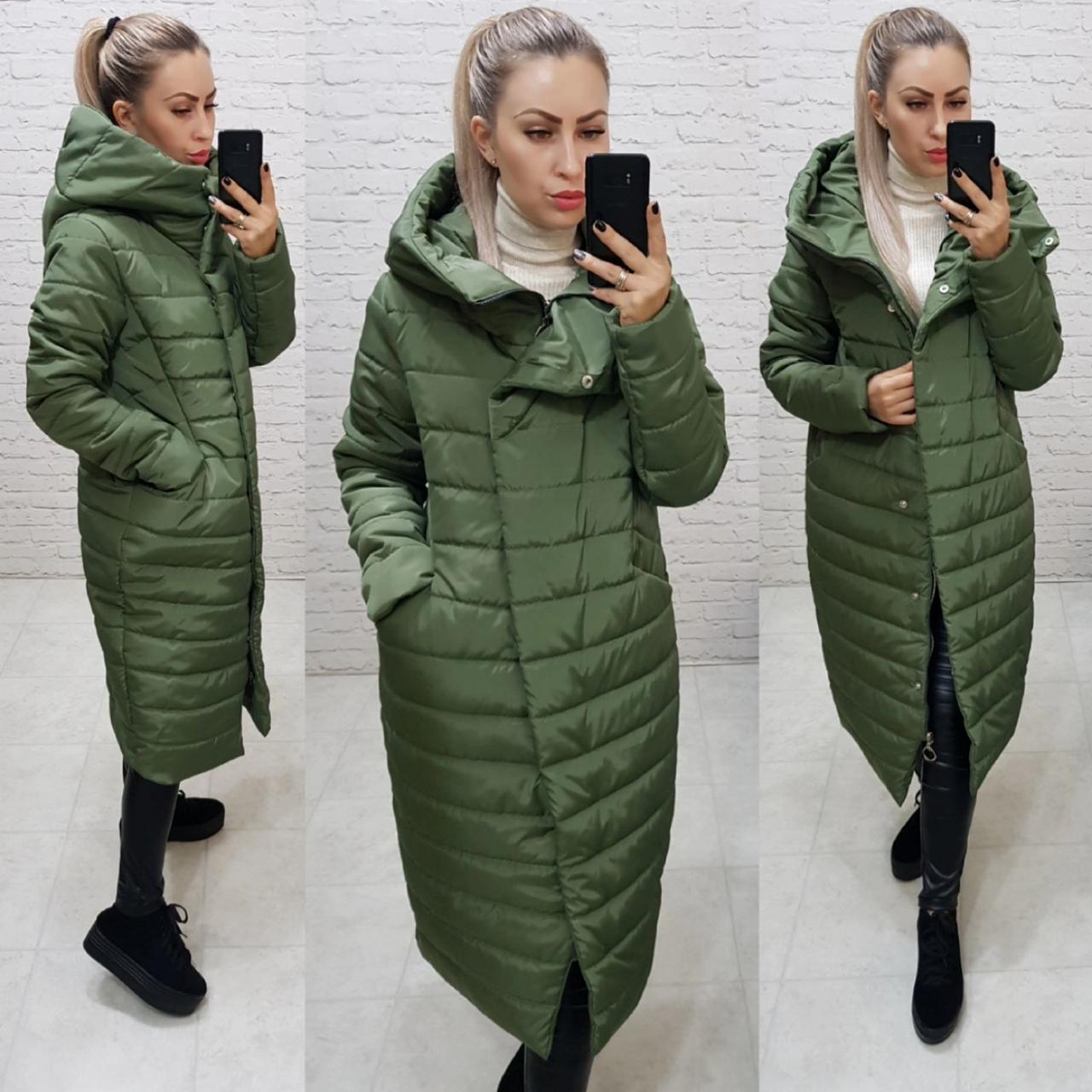 Куртка кокон зимняя стеганная арт. 180 плащевка Мадонна цвет зеленый хаки / зеленая / зеленого цвета
