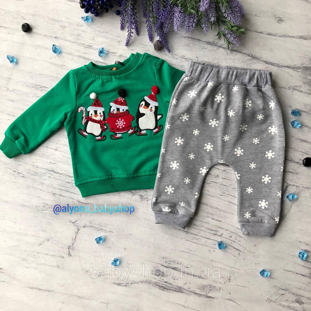Теплый костюм новогодний на мальчика и девочку 12. Размер  80 см, 86 см