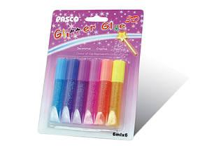 """Клей силиконовый с блестками на картоне """"Pasco"""" (3D/6 цветов, 6 мг.)"""