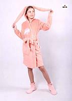 Халат детский махровый с ушками Зайка розовый на запах 36-42р.