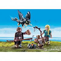 """Игровой набор Playmobil """"Как приручить дракона 3"""" Астрид, Иккинг, дракончик + (70040)"""