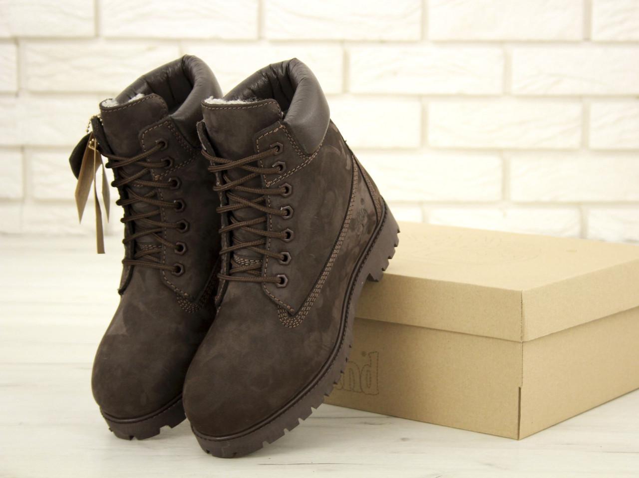 Зимние ботинки Timberland Brown Nubuck, мужские ботинки с натуральным мехом. ТОП Реплика ААА класса.
