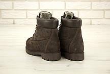 Зимние ботинки Timberland Brown Nubuck, мужские ботинки с натуральным мехом. ТОП Реплика ААА класса., фото 2