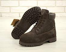 Зимние ботинки Timberland Brown Nubuck, мужские ботинки с натуральным мехом. ТОП Реплика ААА класса., фото 3