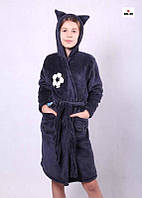 Махровый халат для мальчика с ушками Зайка синий на запах 36-42р.