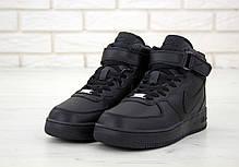 Зимние кроссовки Nike Air Force Black с мехом, мужские кроссовки. ТОП Реплика ААА класса., фото 2