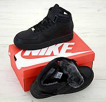 Зимние кроссовки Nike Air Force Black с мехом, мужские кроссовки. ТОП Реплика ААА класса., фото 3