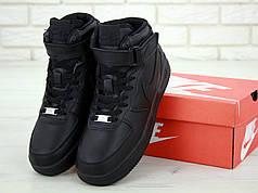 Зимние кроссовки Nike Air Force Black с мехом, мужские кроссовки. ТОП Реплика ААА класса.