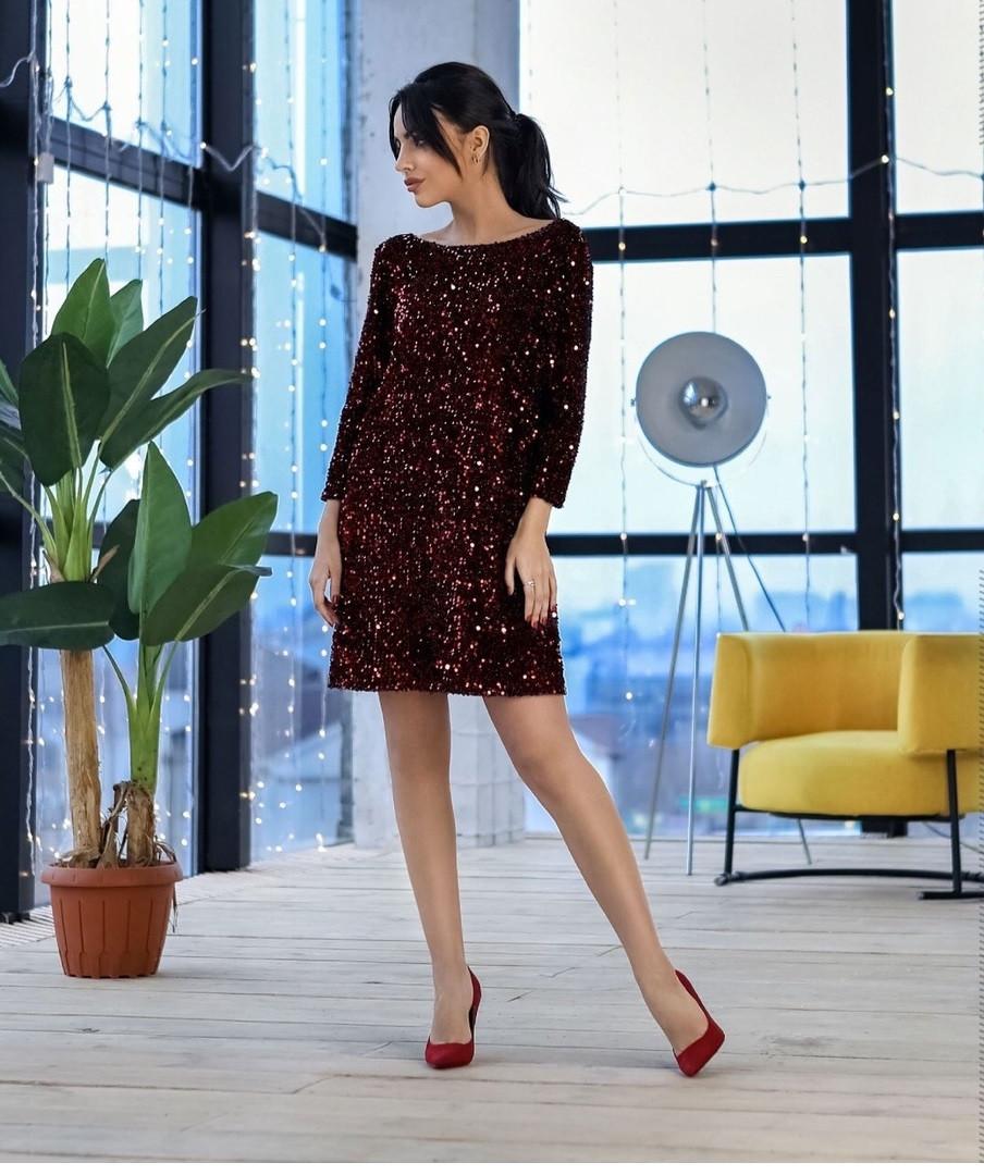 Блестящее вечернее короткое платье Francheska (42–48р) расцветках
