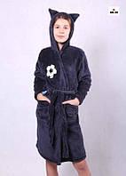 Детский махровый синий халат для мальчика с ушками Зайка синий на запах 36-42р.
