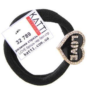 KATTi резинка для волос 32 789 средняя черная с фигурной брошкой, стразами LOVE, фото 2
