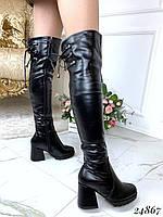 Зимние ботфорты на широком каблуке, фото 1
