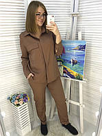 Костюм женский брючный с рубашкой в расцветках  51868, фото 1