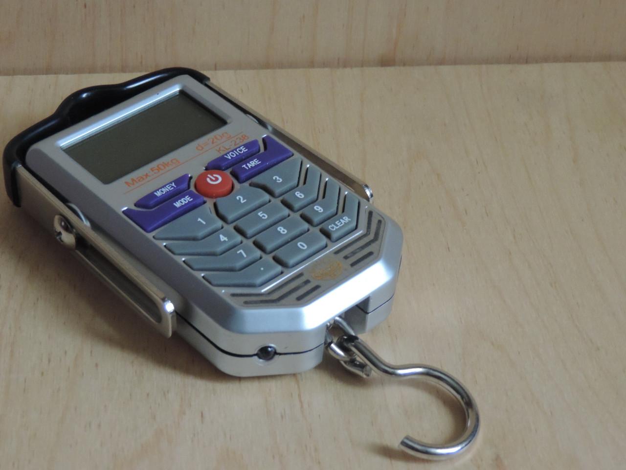 Весы электронные карманные (кантер / безмен) 50 кг. с детектором подлинности денег.
