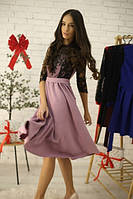 Платье нарядное миди с кружевным верхом AS1250
