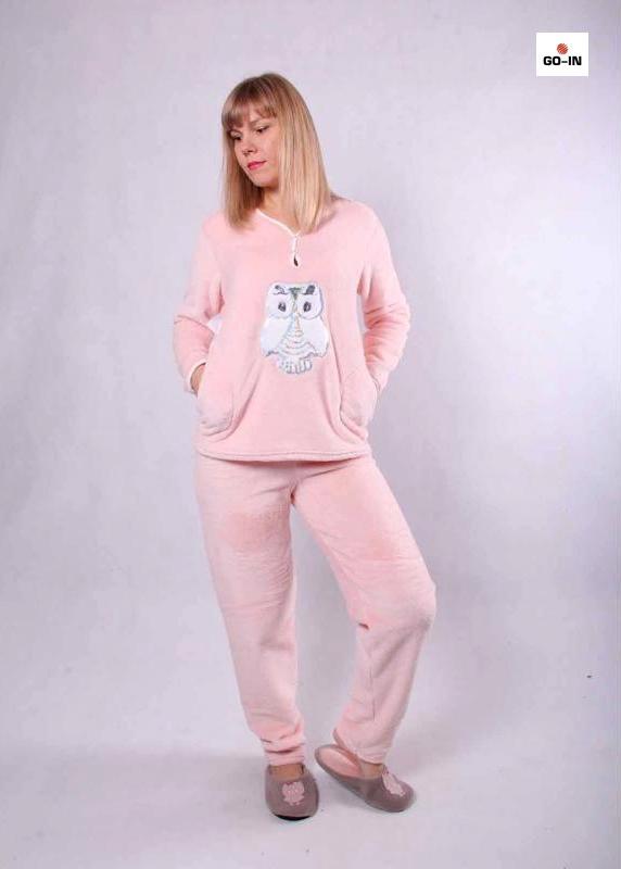 Піжама тепла жіноча махрова рожева батальна 44-56р.