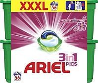 Капсулы для стирки универсальный Ariel Lenor Pods 3 в 1 56 капс.