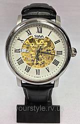 Часы Slava механика кожаный ремешок черный/серебро