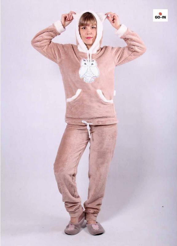 Піжама з капішоном і вушками жіноча махрова капучіно батальна