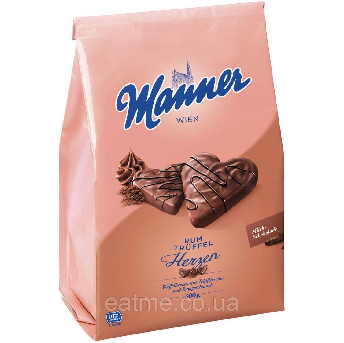 Вафли Manner Herzen Rum Trüffel С трюфельным кремом в молочном шоколаде
