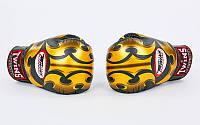 Оригинальные перчатки боксерские кожаные на липучке TWINS (р-р 10-18oz, черный-золотой)